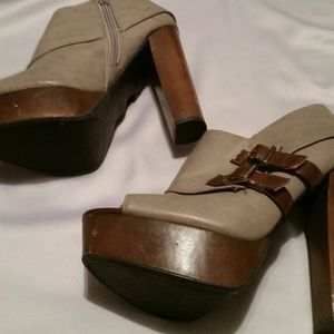 f6cc18d45066 Charlotte Russe Shoes - Chunky Wooden Heel Open Toe Ankle Boots